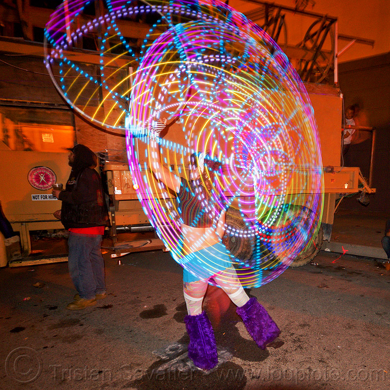LED hoop - light painting, glowing, hooper, hooping, hulahoop, led hoop, led lights, light hoop, night, woman