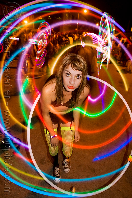LED hoop - rachel, burning man decompression, glowing, hula hoop, hula hooper, hula hooping, led hula hoop, led lights, led-light, light hoop, long exposure, night, people, woman