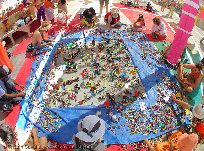 lego art installation by benjamin jones - burning-man 2005, burning man, center camp