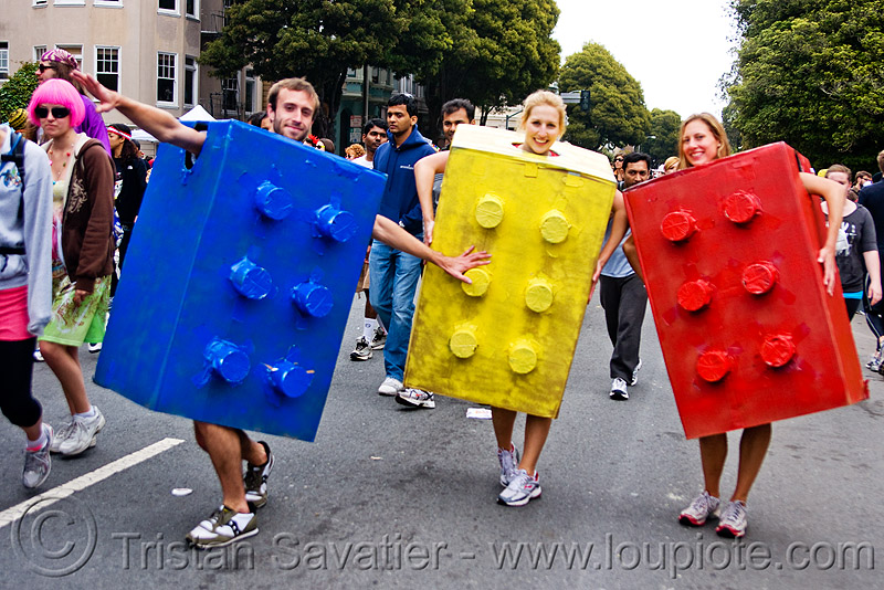 lego bricks, bay to breakers, blue, festival, footrace, people, red, street party, three, yellow