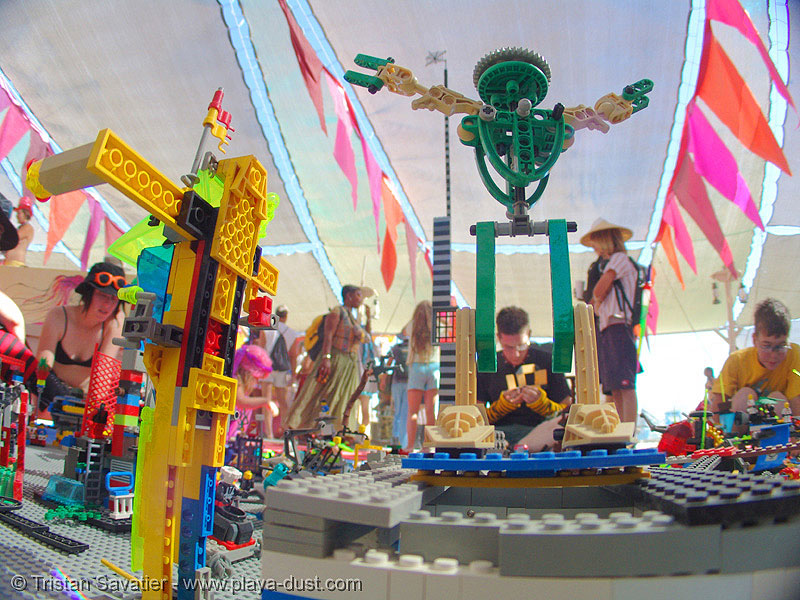 lego man - lego installation by benjamin jones - burning-man 2005, art installation, benjamin jones, burning man, center camp, lego