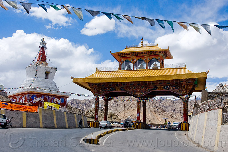 leh city gate - ladakh (india), buddhism, chorten, city gate, ladakh, leh, prayer flags, road, street, stupa, tibetan, लेह