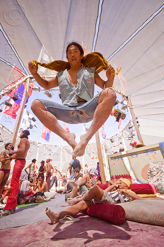 levitating at center camp - burning man 2012, burning man, jump, jumpshot