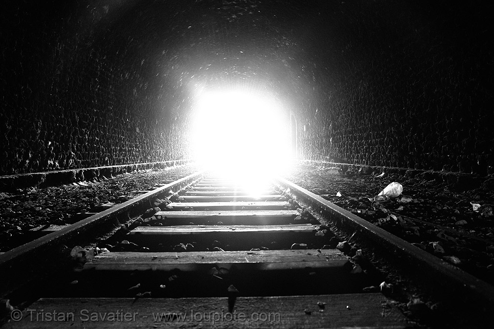 the light at the end of the tunnel, low key, paris, railroad tracks, railway tracks, railway tunnel, trespassing