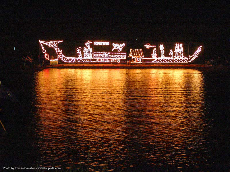 light decorated boat at night - festival on lake - thailand, dragon, dragon boat, light decorations, reflection, si ratchanalai, songkran, water, ประเทศไทย, สงกรานต์