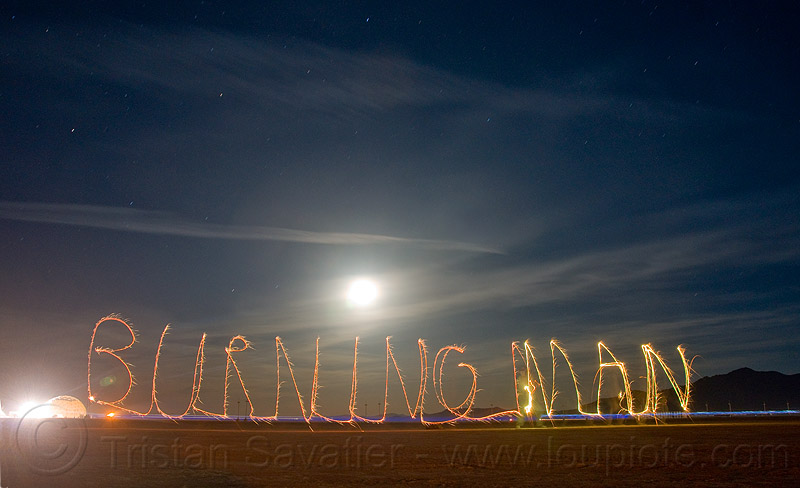 "light painting ""burning man"" with sparklers, burning man, fire, full moon, light drawing, light graffiti, light painting, long exposure, molly, night, sparklers, sparks"