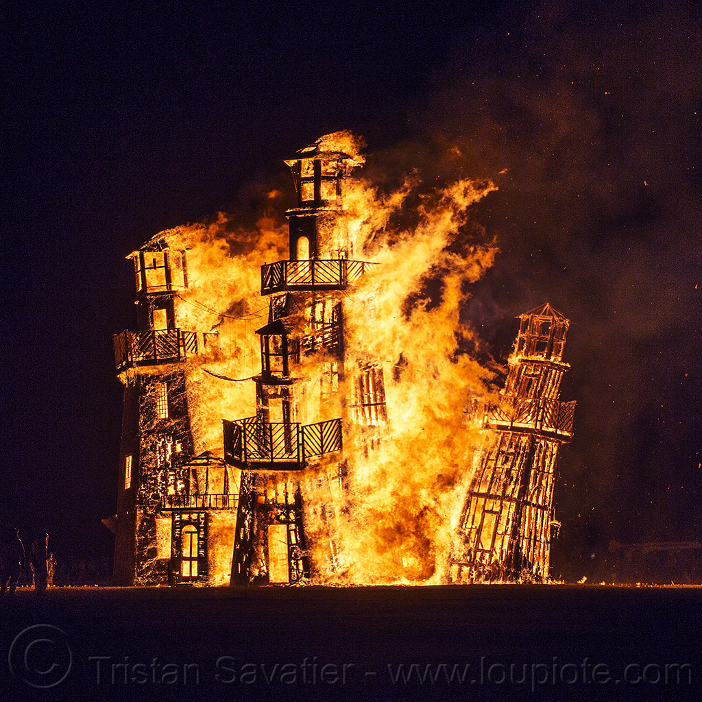 the lighthouse burning - burning man 2016, art installation, black rock lighthouse, burning man, fire, night