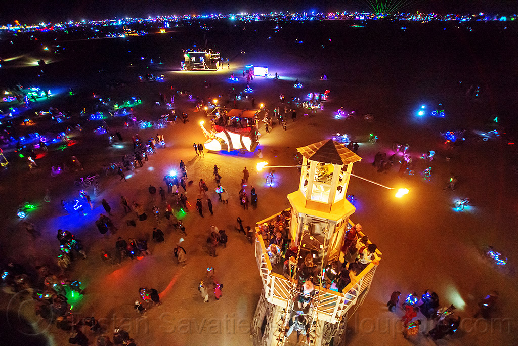 the lighthouse - burning man 2016, art installation, black rock lighthouse, burning man, fire, flame, glowing, light house, night