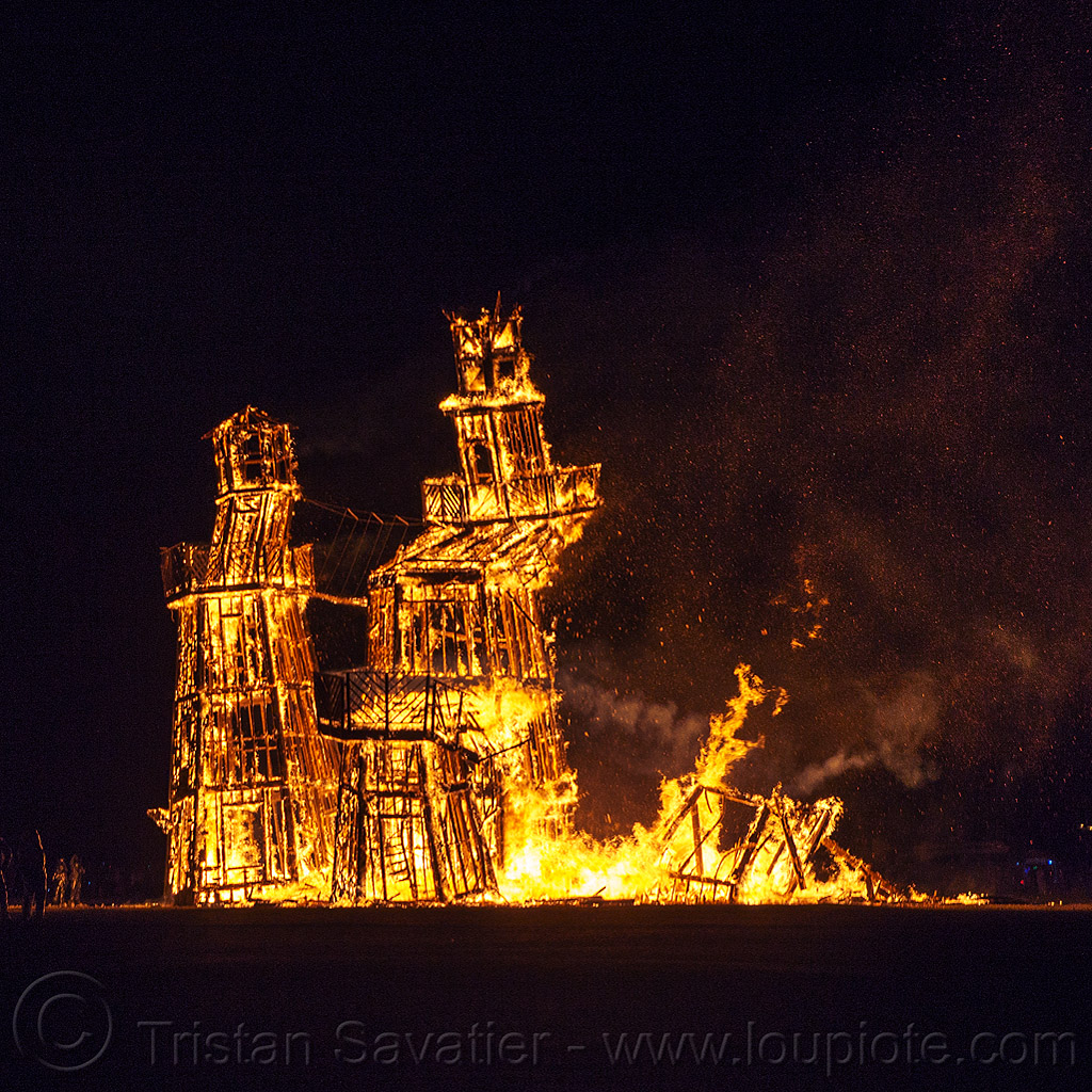 the lighthouse on fire collapses - burning man 2016, art installation, black rock lighthouse, burning man, fire, flame, night