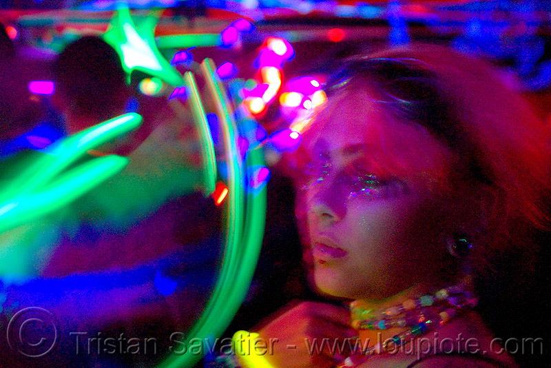 lightshow - young woman and moving LED lights in rave party, emma, led lights, lightshow, long exposure, night, oakland, photo lights, rave lights, rave party, raver, underground party, woman