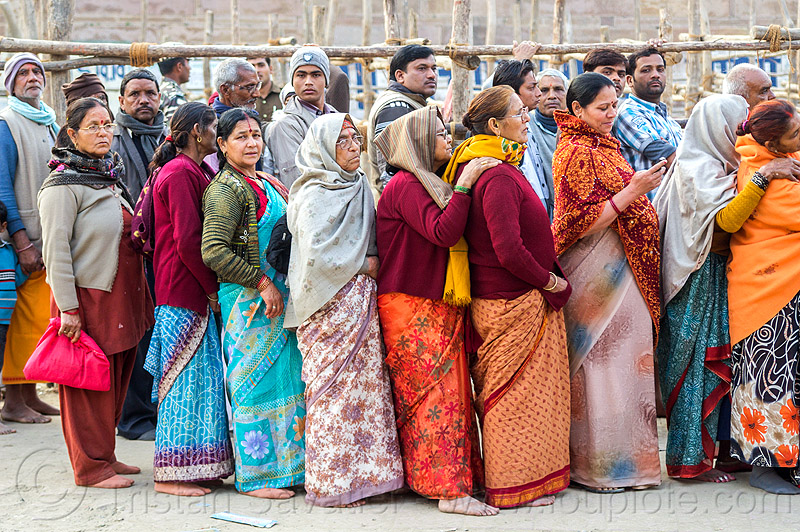 line of hindu pilgrims at temple gate, crowd, hinduism, kumbh mela, kumbha mela, maha kumbh, maha kumbh mela, men, people, queue, row, women