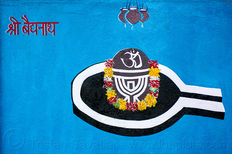 lingam - water droplets - om - hindu symbolism (india), flowers, hinduism, linga, om, painting, shiva lingam, symbol, symbolism, three, water droplets