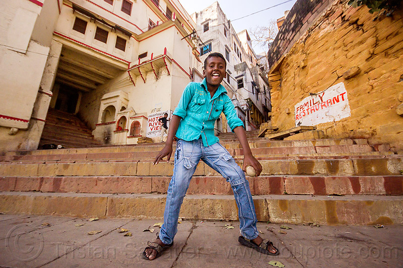 little boy dancing in street - varanasi (india), boy, child, kid, stairs, steps, street, varanasi