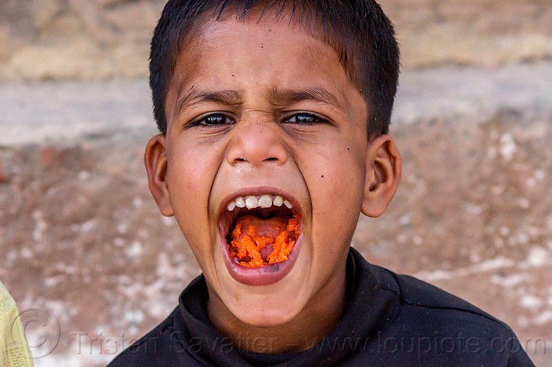 little boy's mouth full of carrots (india), boy, carrots, chewing, child, eating, india, kid, mouth, varanasi