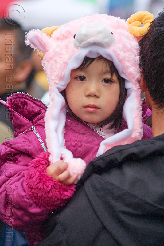 little chinese girl with pink fuzzy hat, child, chinatown, chinese new year, kid, little girl, lunar new year, people