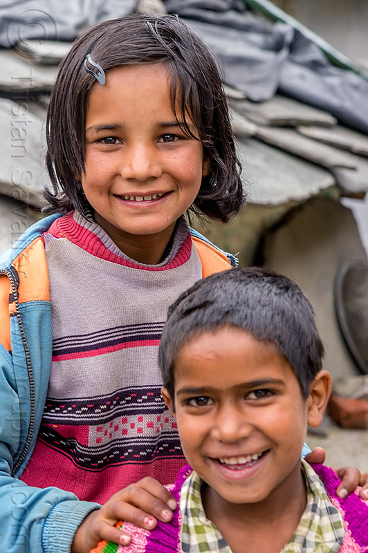 little girl and little boy in himalayan village (india), boy, children, india, janki chatti, kids, little girl