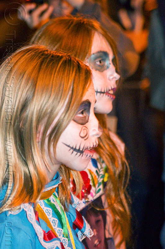 little girls with halloween skull makeup, children, day of the dead, dia de los muertos, face painting, facepaint, kids, little girl, night, people, profile, sisters, sugar skull makeup, two