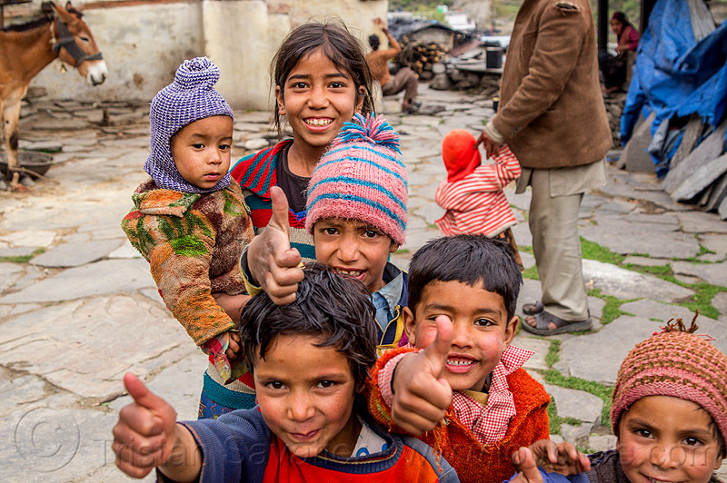 little kids giving the thumbs-up in himalayan village (india), baby, boys, children, india, janki chatti, kids, knit cap, little girl, toddler, village