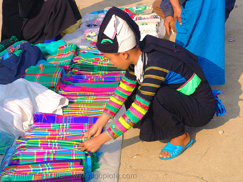"""lo lo den"" tribe girl selling colorful cloth - vietnam, black lo lo tribe, bảo lạc, hat, headwear, hill tribes, indigenous, lo lo den tribe, tribe girl"