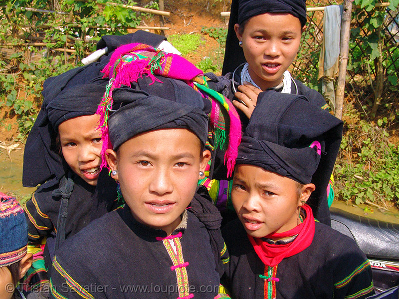 """lo lo den"" tribe kids - vietnam, black lo lo tribe, children, girls, hill tribes, indigenous, little girl, lo lo den tribe, people, tribe girl"