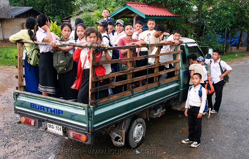 "local ""school bus"" - laos, buathip, children, kids, lorry, people, pickup truck, road, school children, school kids, transport, transportation, transporting"
