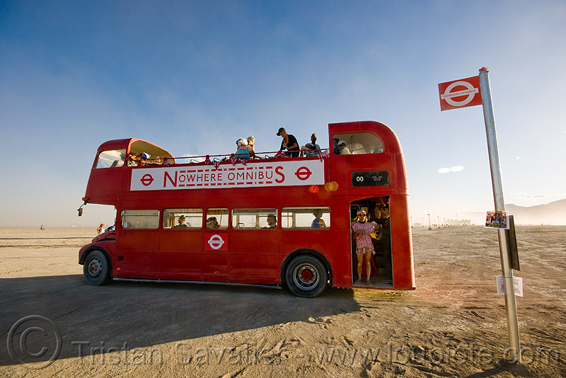 london bus, art car, bristol vr, british bus, burning man, bus stop, double decker bus, double-decker, london bus, nowhere omnibus service, open-top, red, routemaster bus, steve double, toby slater