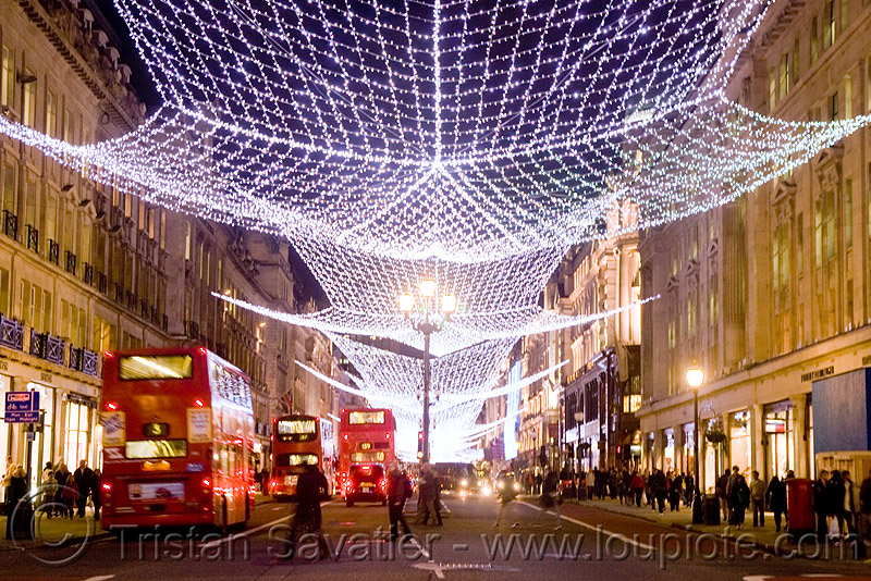 london christmas street lights - decorations - red double-decker buses, bristol vr, british bus, christmas decorations, christmas lights, double decker bus, london bus, night