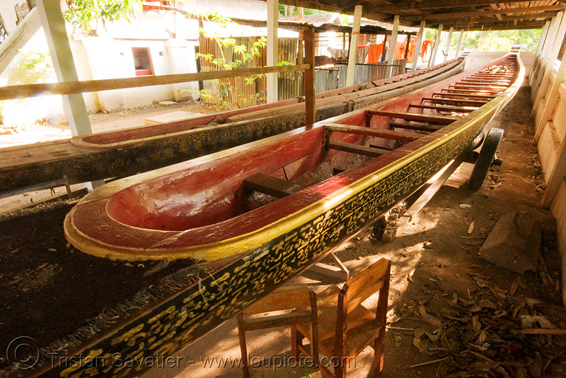 long boat in temple - luang prabang (laos), buddhism, laos, luang prabang