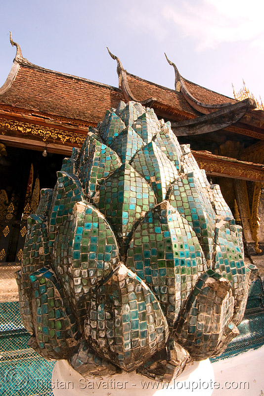 lotus flower mosaic sculpture in temple - luang prabang (laos), buddhism, buddhist temple, lotus flower, luang prabang, mosaic, sculpture