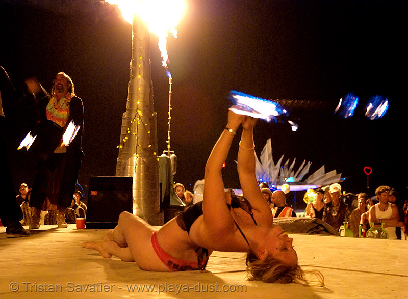 louise, from ireland, spinning fire on the shiva vista stage - burning man 2007, burning man, fire poi, night, shiva vista stage