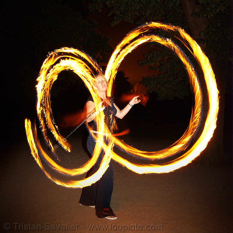 louise spinning fire double poi, circle, double poi, fire dancer, fire dancing, fire performer, fire poi, fire spinning, flames, long exposure, night, ring, spinning fire