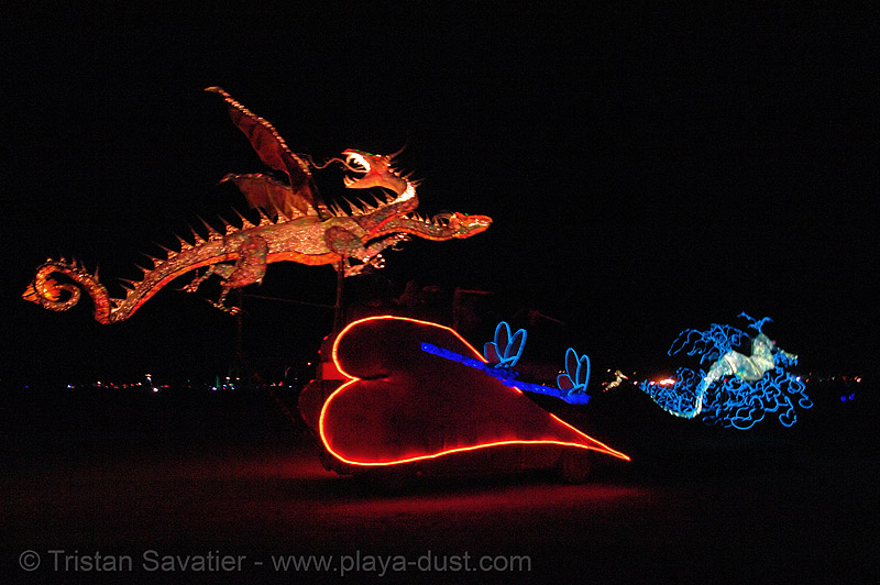 love and dragons - burning-man 2006, art, burning man, el-wire, heart, love and dragons, night, sean sobczak