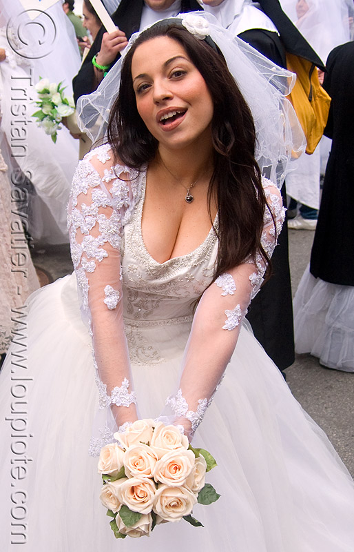 lovely bride with cleavage and bouquet - diana furka - brides of march (san francisco), bridal bouquet, brides of march, diana furka, festival, flowers, wedding dress, white roses, woman