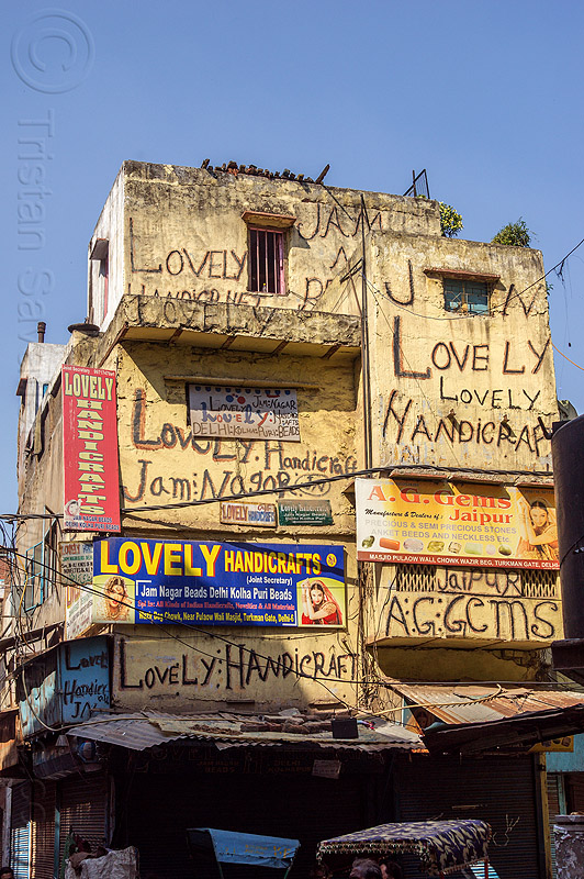 lovely handicraft - writing on building wall (india), advertising, building, delhi, house, india, lovely handicraft, painted, sign