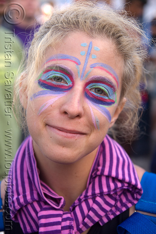 lovevolution - lovefest (san francisco), blue, face painting, facepaint, lovevolution, pink, purple, woman
