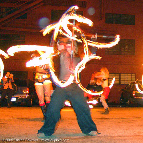 LSD fuego - fire performer spinning fire staves (san francisco), fire dancer, fire dancing, fire performer, fire spinning, fire staff, night, spinning fire