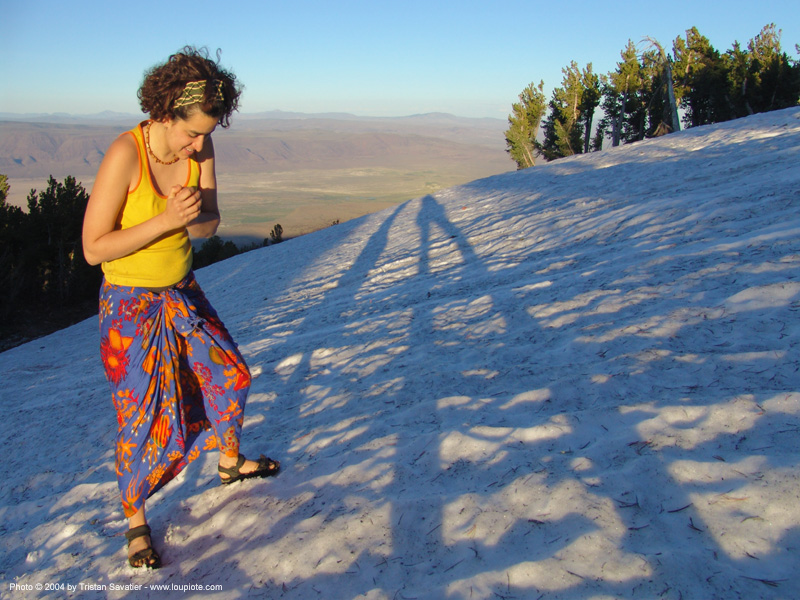 luiza - rainbow gathering - hippie, people, rainbow family, shadows, snow, woman