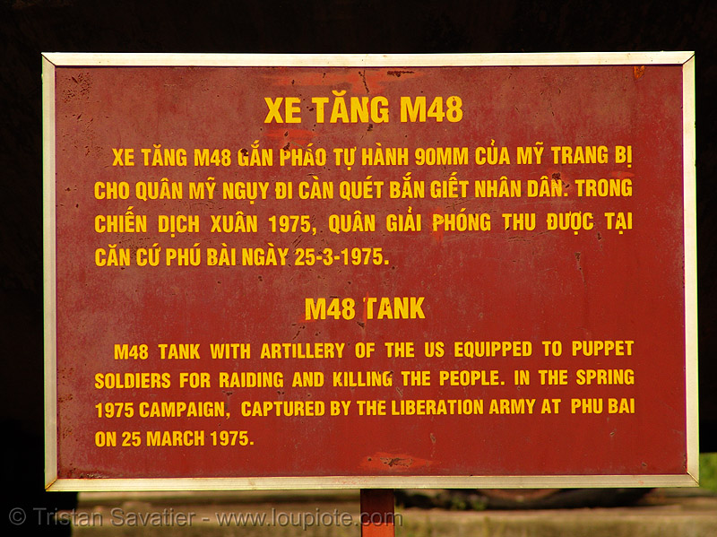 M48 patton sign - vietnam, army tank, hué, m48 tank, m48a3, military, puppet soldiers, sign, vietnam war