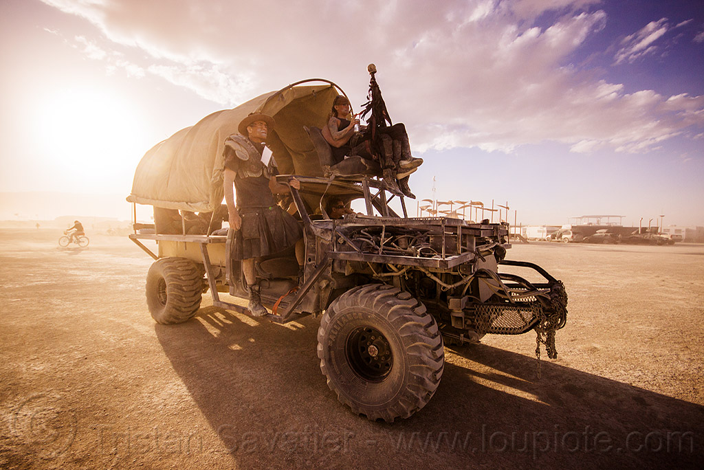mad-max style truck with wagon cover - burning man 2015, 4x4, all terrain, art car, burning man, death guild, dgtd, matthew nelson, screwloose truck, thunderdome