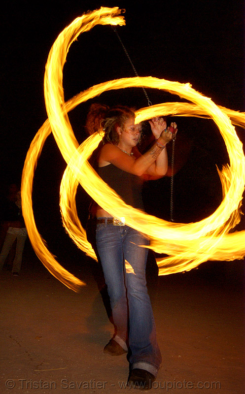 maddie spinning fire poi (san francisco), fire dancer, fire dancing, fire performer, fire spinning, flames, long exposure, night