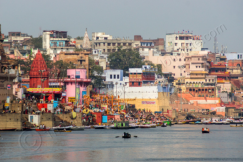 main ghat of varanasi (india), buildings, ganga river, ganges river, ghats, houses, main ghat, river bank, river boats, rowing boats, small boats, varanasi, water