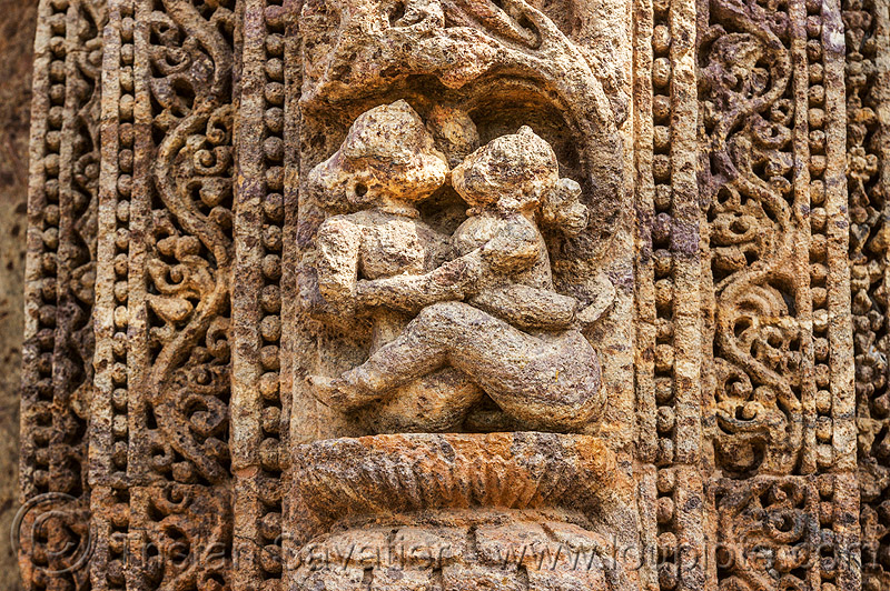 maithuna - erotic sculpture of couple sitting - konark sun temple (india), carving, erotic sculptures, high-relief, hindu temple, hinduism, konark sun temple, maithuna, stone