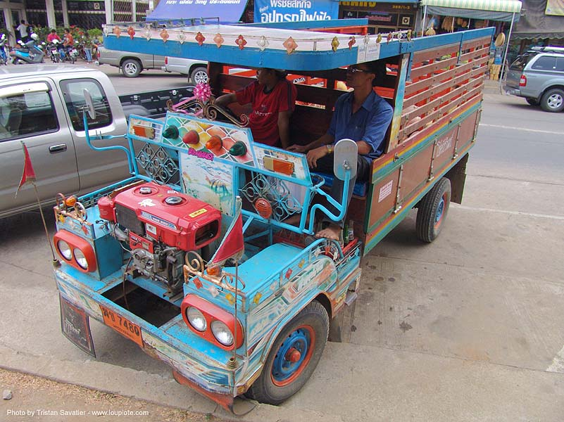 makeshift truck - decorated - thailand, custom truck, farmer, farmer truck, lorry, painted, phimai, road, street, ประเทศไทย, พิมาย