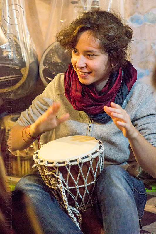 malou - girl playing djembe drum, people, varanasi