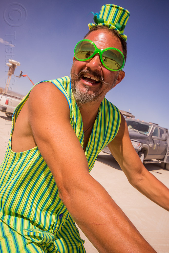 man in green stripe costume - burning man 2015, green sunglasses, hat, people, stripes