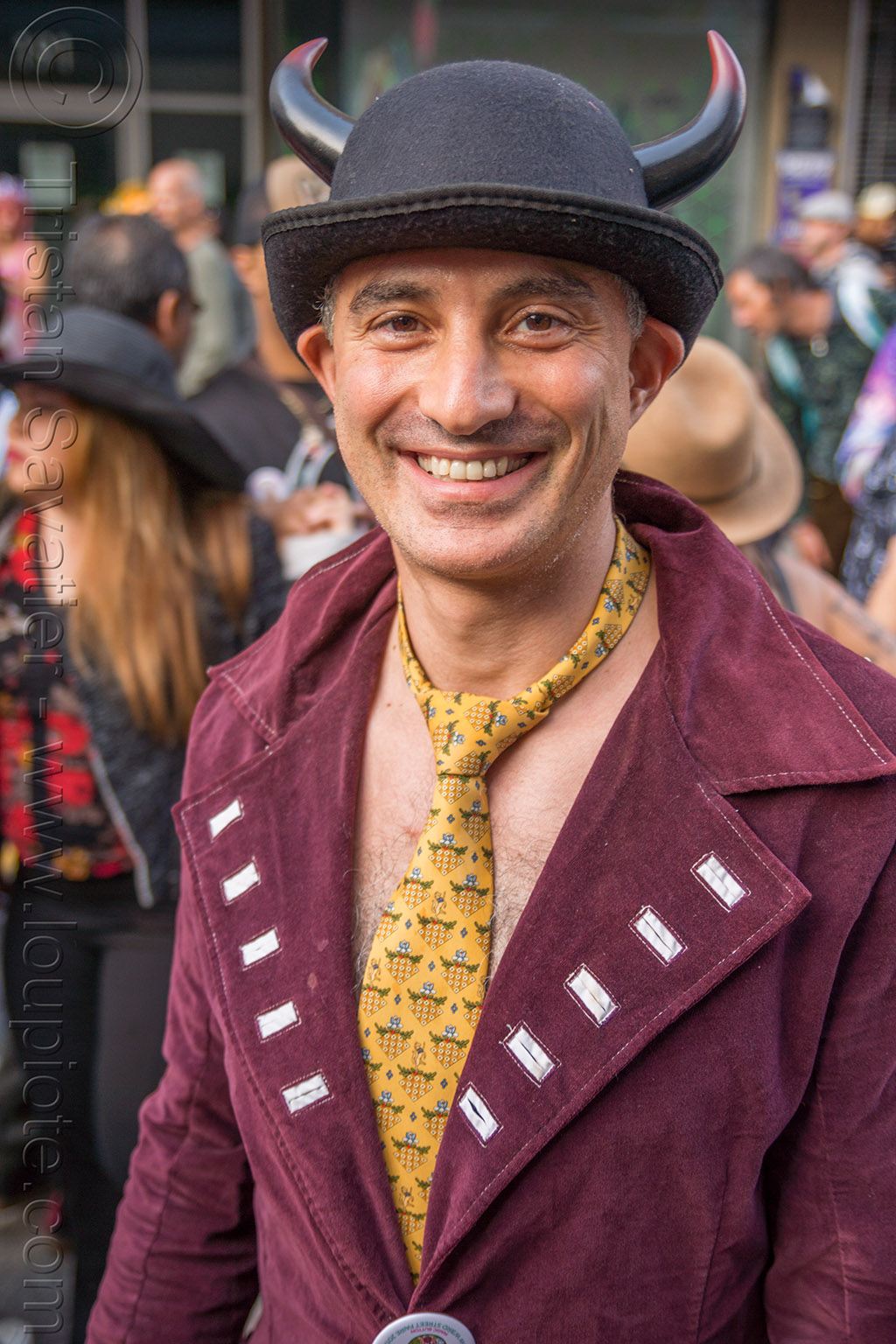 man in shirtless costume - yellow tie - bowler hat - how weird street faire (san francisco), bowler hat, costume, horns, how weird festival, man, yellow tie