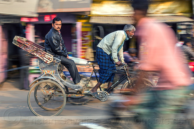 man on cycle rickshaw (india), men, moving, people, riding, sitting, street, varanasi