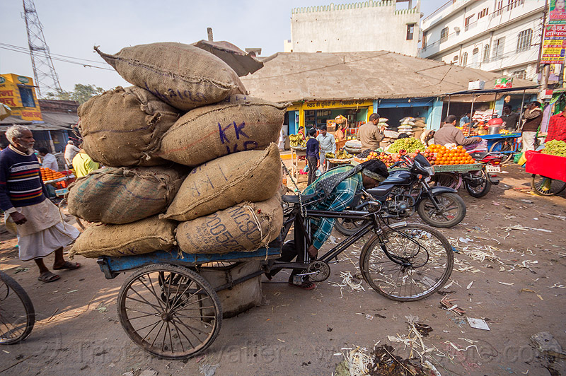 man pushing cargo tricycle with heavy load (india), bags, bearer, cargo tricycle, cargo trike, freight tricycle, freight trike, heavy, india, load, man, moving, sacks, street market, transport, transportation, transporting, varanasi, walking