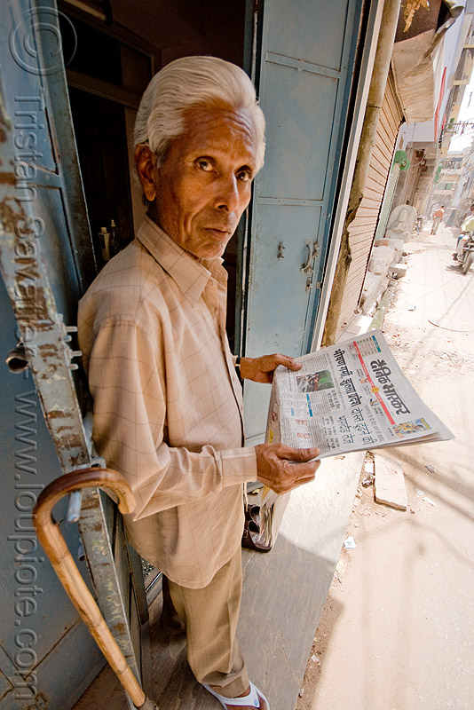 man reading hindi newspaper - jaipur (india), people, street