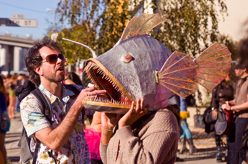 fish mask, burning man decompression, fish mask, woman